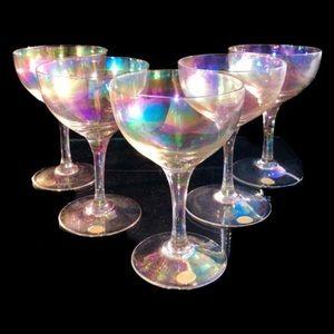 NWT 5 Goblets Rainbow wine glasses Europe Hand Mde
